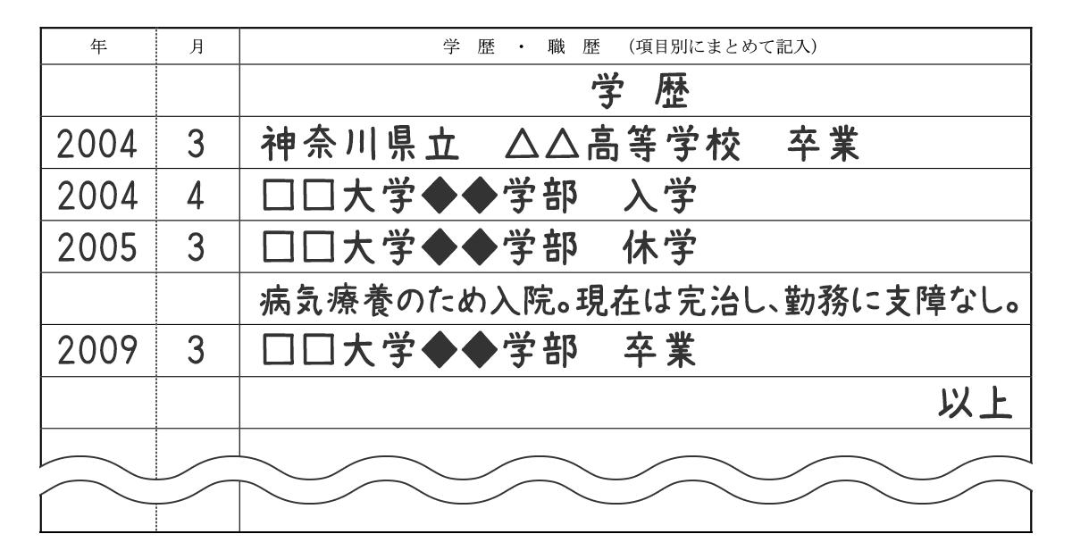 履歴書_学歴サンプル(休学用)