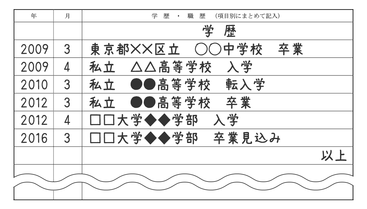 履歴書_学歴サンプル(転校用)
