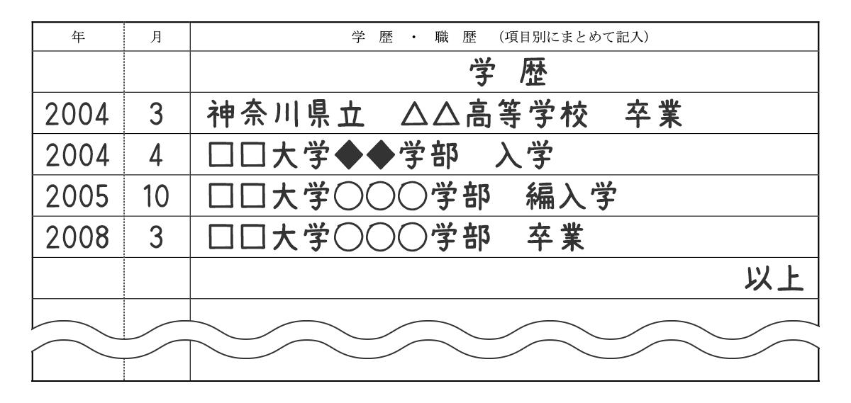 履歴書_学歴サンプル(学部変更用)